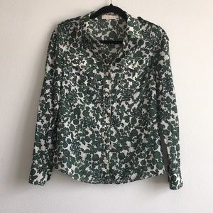 TORY BURCH Green & White Floral Button-Up Shirt